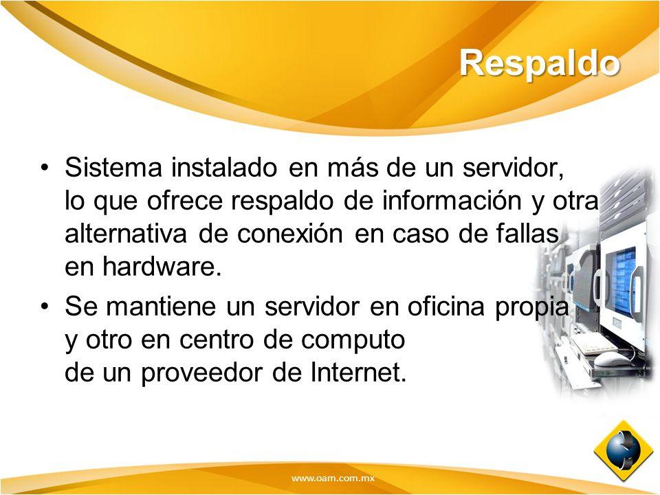 www.oam.com.mx Respaldo Sistema instalado en más de un servidor, lo que ofrece respaldo de información y otra alternativa de conexión en caso de falla