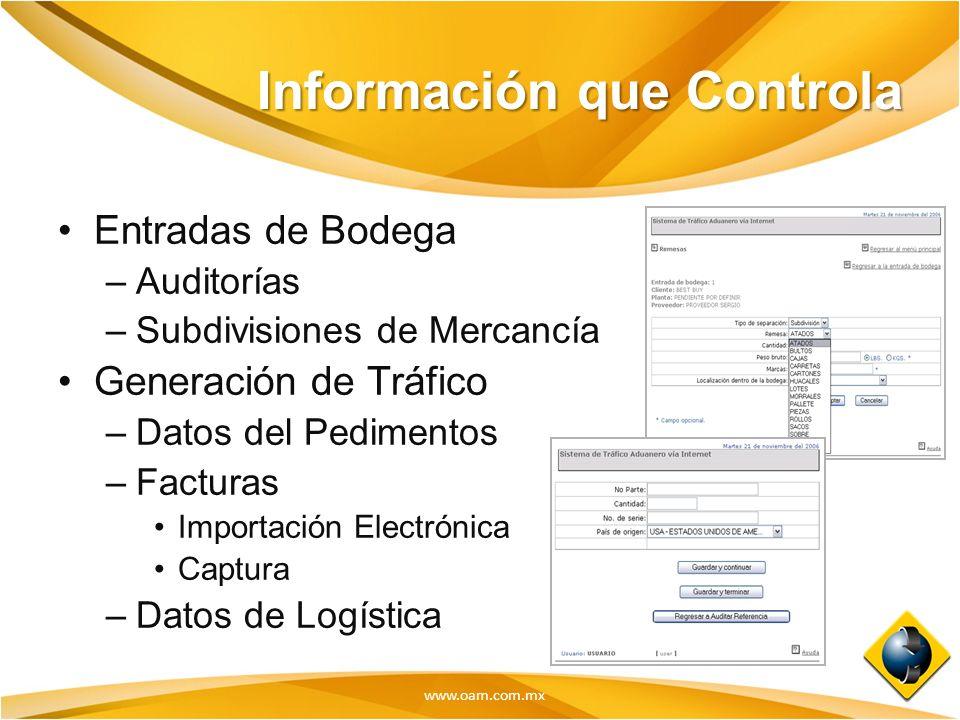 www.oam.com.mx Información que Controla Entradas de Bodega –Auditorías –Subdivisiones de Mercancía Generación de Tráfico –Datos del Pedimentos –Factur