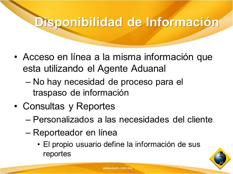 www.oam.com.mx Disponibilidad de Información Acceso en línea a la misma información que esta utilizando el Agente Aduanal –No hay necesidad de proceso