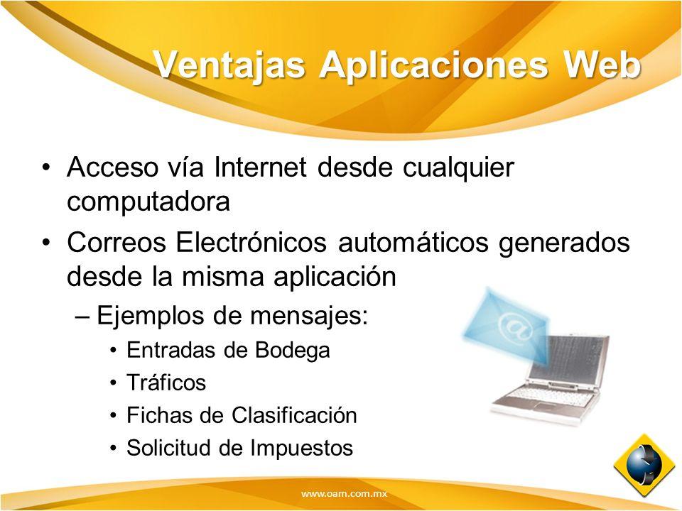 www.oam.com.mx Ventajas Aplicaciones Web Acceso vía Internet desde cualquier computadora Correos Electrónicos automáticos generados desde la misma apl