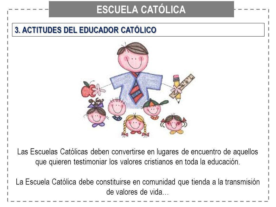 ESCUELA CATÓLICA 3. ACTITUDES DEL EDUCADOR CATÓLICO Las Escuelas Católicas deben convertirse en lugares de encuentro de aquellos que quieren testimoni