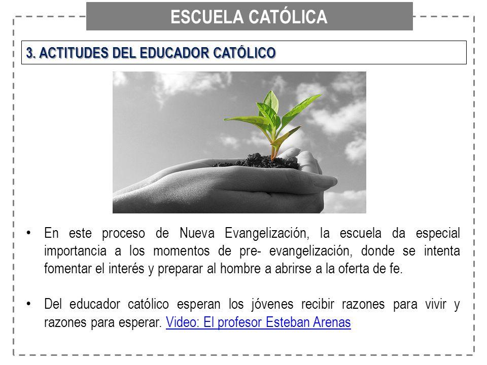 ESCUELA CATÓLICA 3. ACTITUDES DEL EDUCADOR CATÓLICO En este proceso de Nueva Evangelización, la escuela da especial importancia a los momentos de pre-