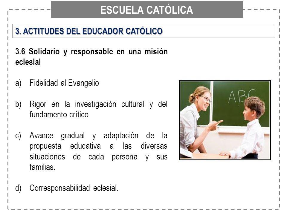 ESCUELA CATÓLICA 3. ACTITUDES DEL EDUCADOR CATÓLICO 3.6 Solidario y responsable en una misión eclesial a)Fidelidad al Evangelio b)Rigor en la investig