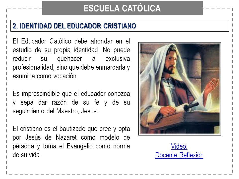 ESCUELA CATÓLICA 2. IDENTIDAD DEL EDUCADOR CRISTIANO El Educador Católico debe ahondar en el estudio de su propia identidad. No puede reducir su queha