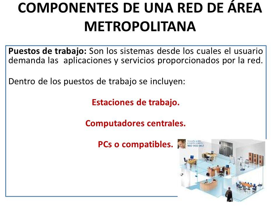 COMPONENTES DE UNA RED DE ÁREA METROPOLITANA Puestos de trabajo: Son los sistemas desde los cuales el usuario demanda las aplicaciones y servicios proporcionados por la red.