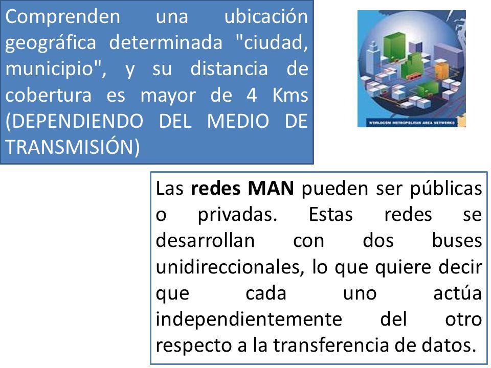 Las redes MAN pueden ser públicas o privadas.