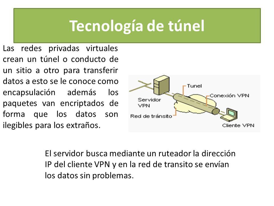 Tecnología de túnel Las redes privadas virtuales crean un túnel o conducto de un sitio a otro para transferir datos a esto se le conoce como encapsulación además los paquetes van encriptados de forma que los datos son ilegibles para los extraños.