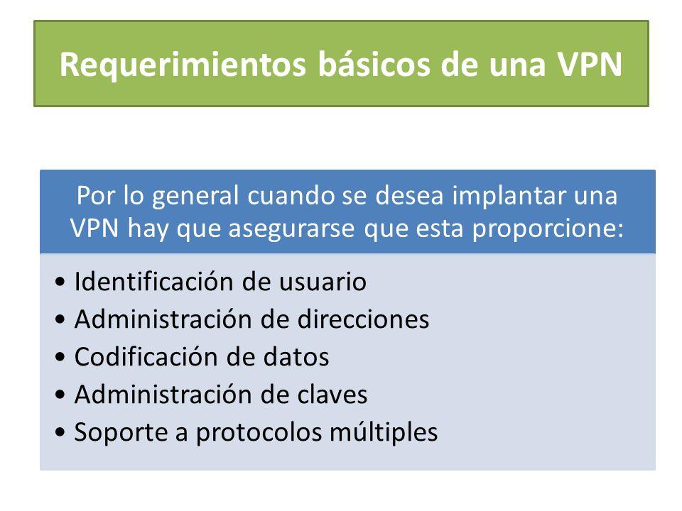 Requerimientos básicos de una VPN Por lo general cuando se desea implantar una VPN hay que asegurarse que esta proporcione: Identificación de usuario Administración de direcciones Codificación de datos Administración de claves Soporte a protocolos múltiples