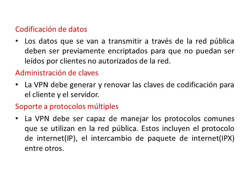 Codificación de datos Los datos que se van a transmitir a través de la red pública deben ser previamente encriptados para que no puedan ser leídos por clientes no autorizados de la red.