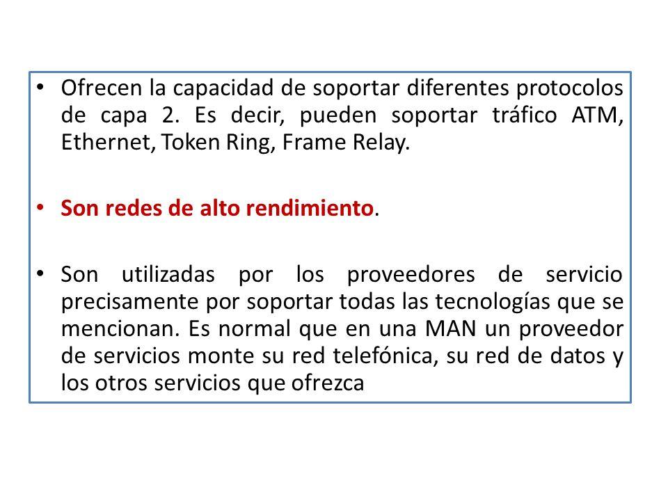 Ofrecen la capacidad de soportar diferentes protocolos de capa 2.