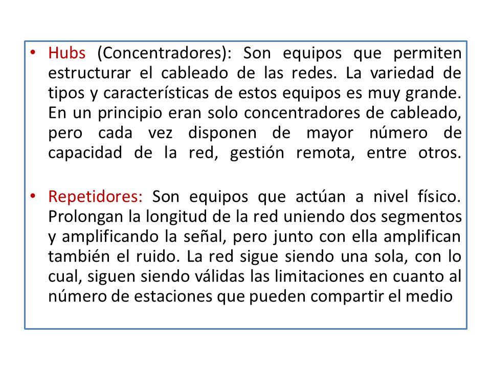 Hubs (Concentradores): Son equipos que permiten estructurar el cableado de las redes.