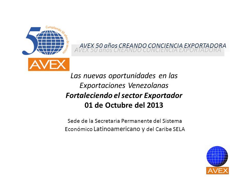 Las nuevas oportunidades en las Exportaciones Venezolanas Fortaleciendo el sector Exportador 01 de Octubre del 2013 Sede de la Secretaria Permanente d