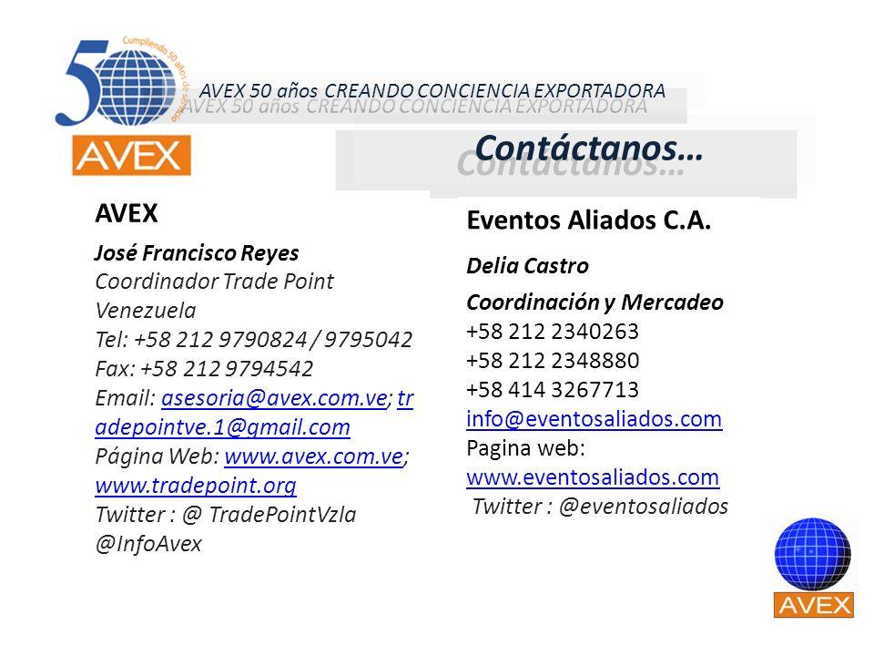 Contáctanos… Eventos Aliados C.A. Delia Castro Coordinación y Mercadeo +58 212 2340263 +58 212 2348880 +58 414 3267713 info@eventosaliados.com Pagina