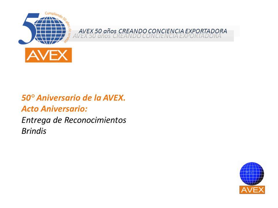 50° Aniversario de la AVEX. Acto Aniversario: Entrega de Reconocimientos Brindis AVEX 50 años CREANDO CONCIENCIA EXPORTADORA