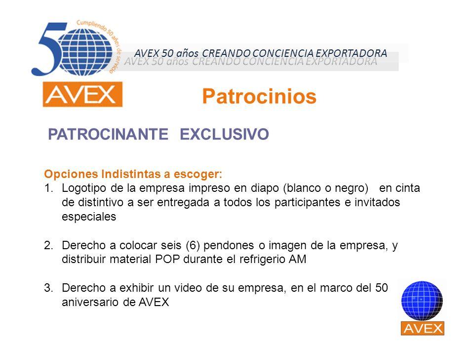 PATROCINANTE EXCLUSIVO Patrocinios Opciones Indistintas a escoger: 1.Logotipo de la empresa impreso en diapo (blanco o negro) en cinta de distintivo a