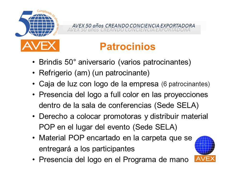 Brindis 50° aniversario (varios patrocinantes) Refrigerio (am) (un patrocinante) Caja de luz con logo de la empresa (6 patrocinantes) Presencia del lo
