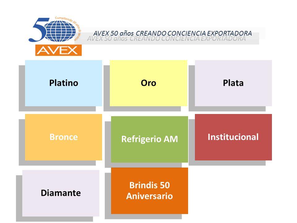 Platino Oro Plata Bronce Brindis 50 Aniversario Institucional Refrigerio AM AVEX 50 años CREANDO CONCIENCIA EXPORTADORA Diamante