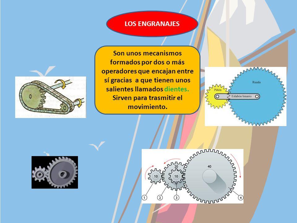 3. LOS OPERADORES MECÁNICOS TIPOS Rueda: pueden ser lisas o dentadas. Ejes: se acoplan a las ruedas o a un motor y giran en el mismo sentido que ellos