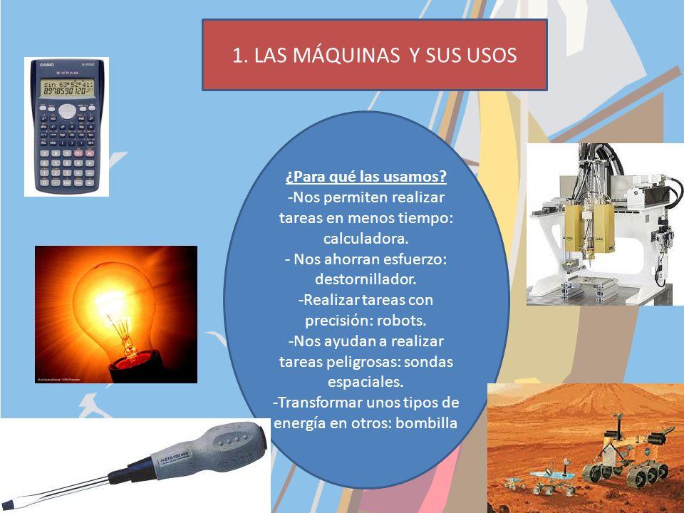 1.Las máquinas y sus usos: máquinas mecánicas, térmicas, para manejar comunicación e información. 2.Las partes de una máquina: estructura, carcasa, mo