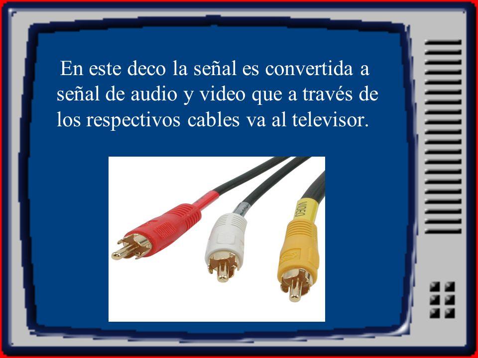 En este deco la señal es convertida a señal de audio y video que a través de los respectivos cables va al televisor.