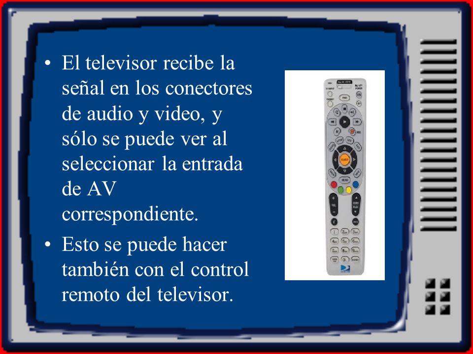 El televisor recibe la señal en los conectores de audio y video, y sólo se puede ver al seleccionar la entrada de AV correspondiente. Esto se puede ha