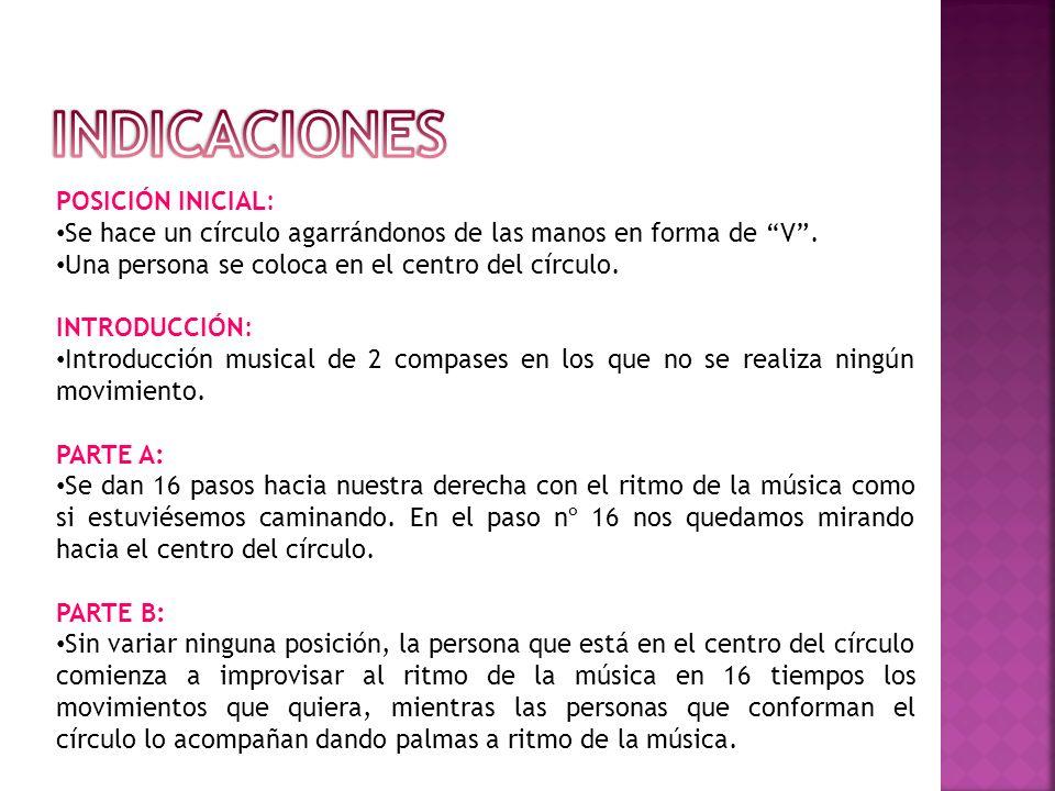 PARTE C: Las personas que forman el círculo en 16 tiempos equivalentes a los 16 pasos iniciales, imitan los movimientos y expresiones que la persona del centro haya realizado; la persona que se sitúa en el centro les acompaña dando palmas a ritmo de la música.