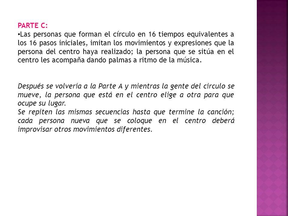 PARTE C: Las personas que forman el círculo en 16 tiempos equivalentes a los 16 pasos iniciales, imitan los movimientos y expresiones que la persona d