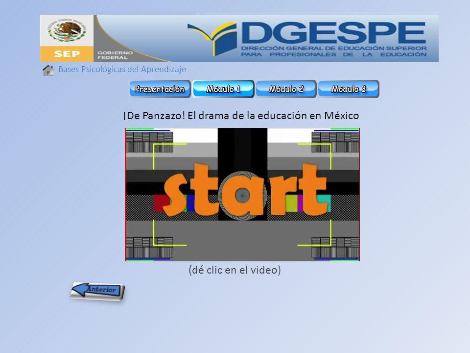 Bases Psicológicas del Aprendizaje ¡De Panzazo! El drama de la educación en México (dé clic en el video)