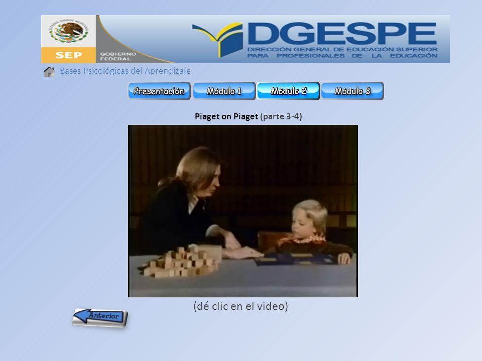 Bases Psicológicas del Aprendizaje Piaget on Piaget (parte 3-4) (dé clic en el video)