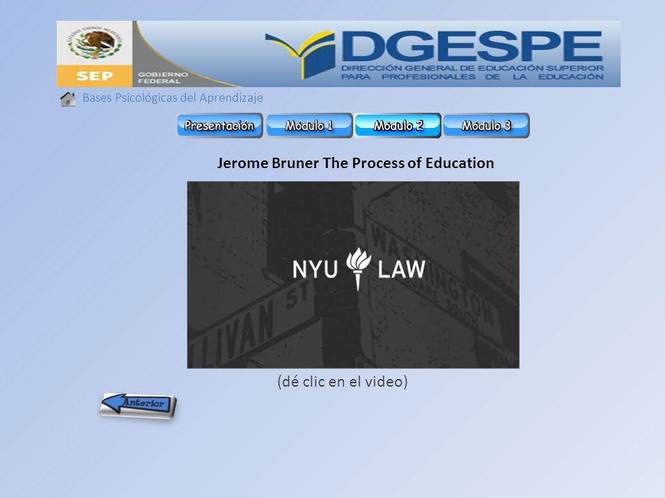 Bases Psicológicas del Aprendizaje Jerome Bruner The Process of Education (dé clic en el video)