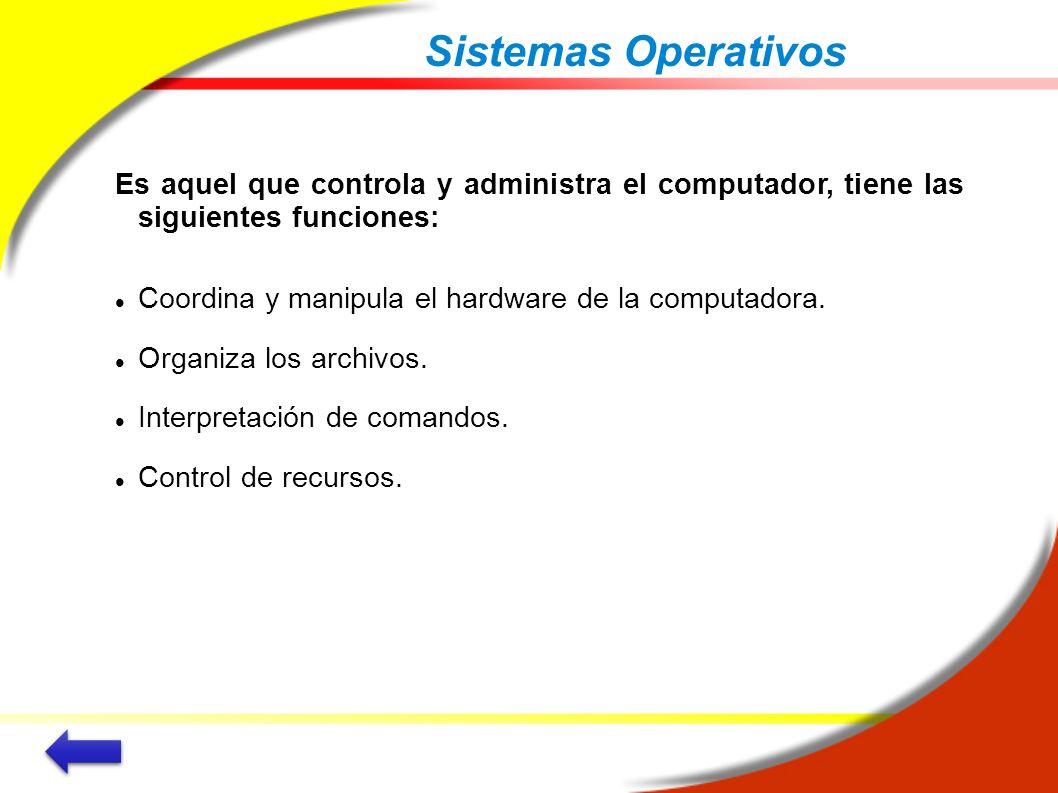 Sistemas Operativos Es aquel que controla y administra el computador, tiene las siguientes funciones: Coordina y manipula el hardware de la computador