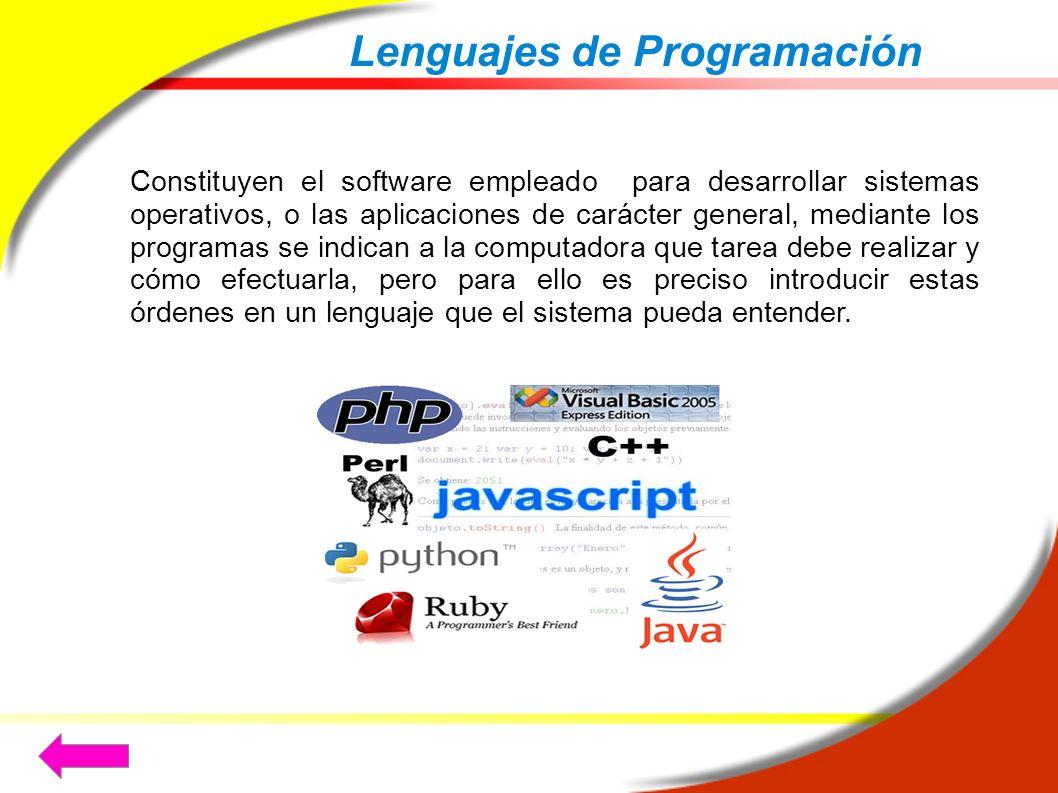 Lenguajes de Programación Constituyen el software empleado para desarrollar sistemas operativos, o las aplicaciones de carácter general, mediante los