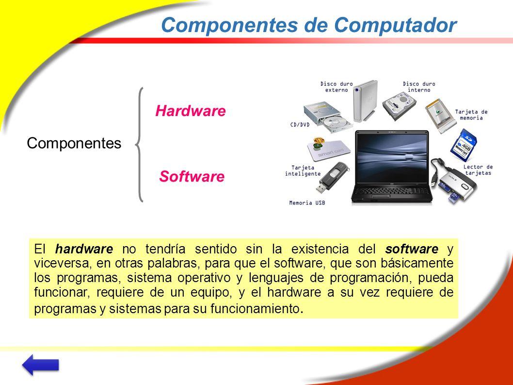 Componentes de Computador El hardware no tendría sentido sin la existencia del software y viceversa, en otras palabras, para que el software, que son