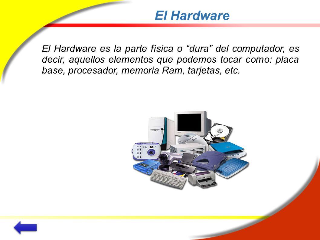 El Hardware El Hardware es la parte física o dura del computador, es decir, aquellos elementos que podemos tocar como: placa base, procesador, memoria