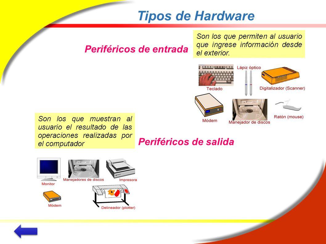 Tipos de Hardware Periféricos de entrada Periféricos de salida Son los que permiten al usuario que ingrese información desde el exterior. Son los que