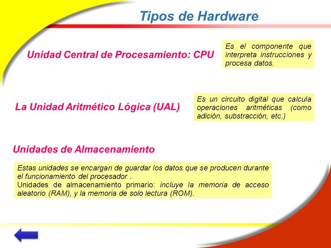 Tipos de Hardware Unidad Central de Procesamiento: CPU Es el componente que interpreta instrucciones y procesa datos. La Unidad Aritmético Lógica (UAL