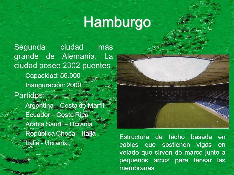 Hamburgo Segunda ciudad más grande de Alemania. La ciudad posee 2302 puentes Capacidad: 55.000 Inauguración: 2000 Partidos: Argentina – Costa de Marfi
