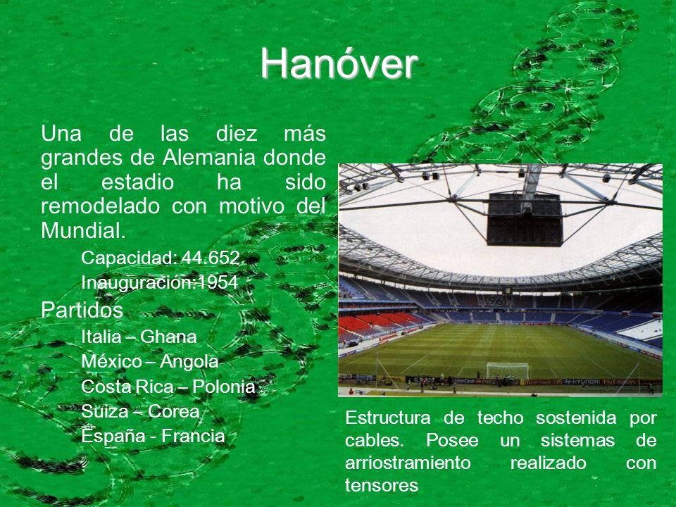 Hanóver Una de las diez más grandes de Alemania donde el estadio ha sido remodelado con motivo del Mundial. Capacidad: 44.652 Inauguración:1954 Partid