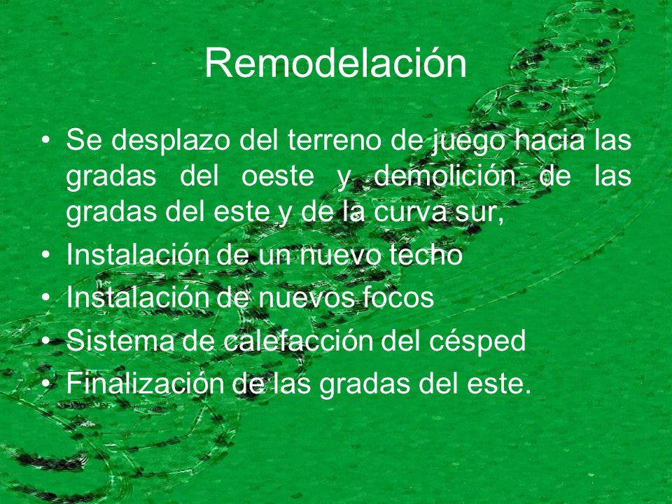 Remodelación Se desplazo del terreno de juego hacia las gradas del oeste y demolición de las gradas del este y de la curva sur, Instalación de un nuev