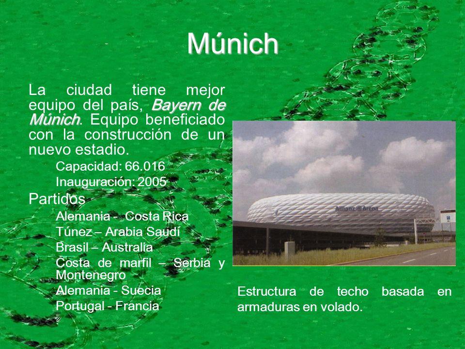 Múnich Bayern de Múnich La ciudad tiene mejor equipo del país, Bayern de Múnich. Equipo beneficiado con la construcción de un nuevo estadio. Capacidad