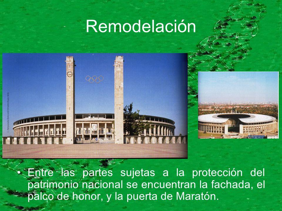 Entre las partes sujetas a la protección del patrimonio nacional se encuentran la fachada, el palco de honor, y la puerta de Maratón.