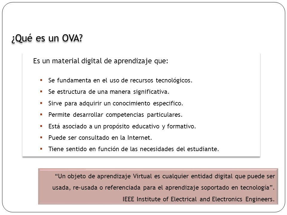 ¿Qué es un OVA? Un objeto de aprendizaje Virtual es cualquier entidad digital que puede ser usada, re-usada o referenciada para el aprendizaje soporta