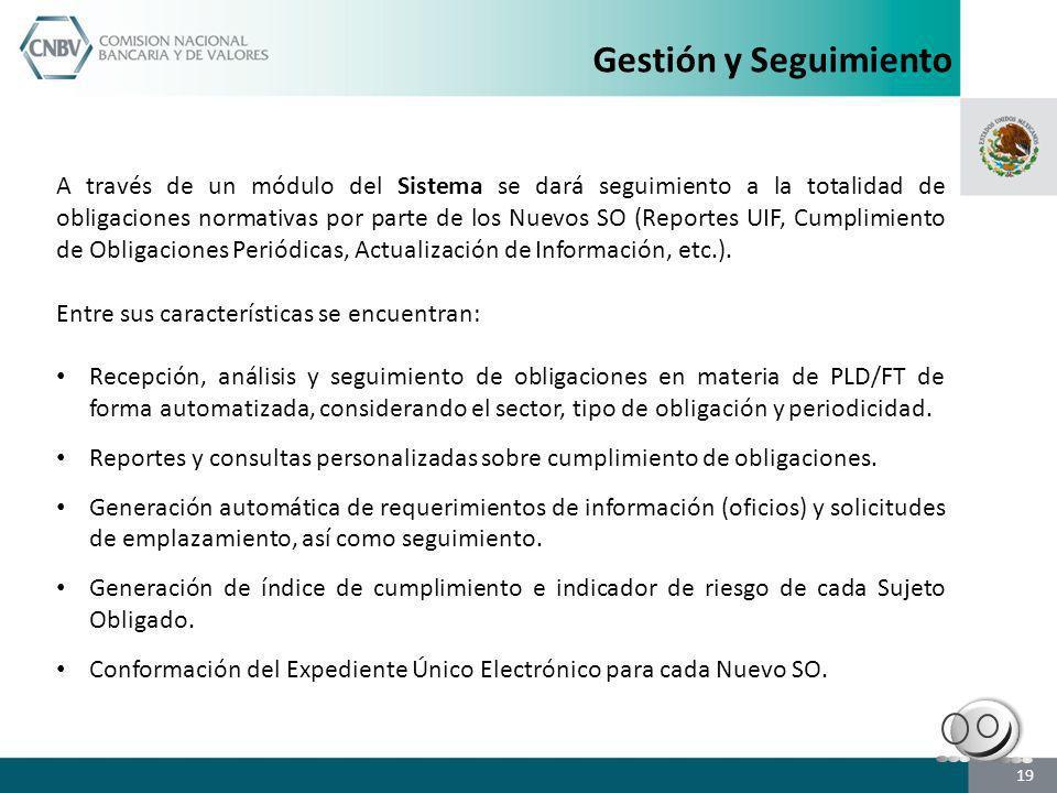 A través de un módulo del Sistema se dará seguimiento a la totalidad de obligaciones normativas por parte de los Nuevos SO (Reportes UIF, Cumplimiento