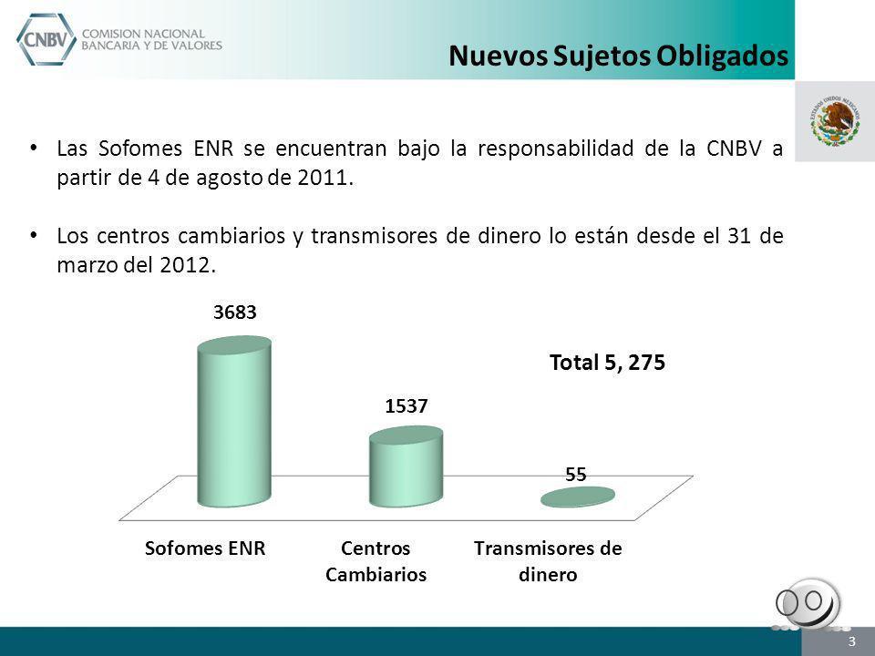 Nuevos Sujetos Obligados Las Sofomes ENR se encuentran bajo la responsabilidad de la CNBV a partir de 4 de agosto de 2011. Los centros cambiarios y tr