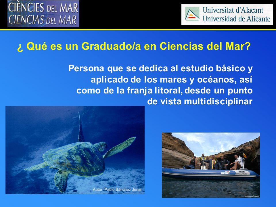 Persona que se dedica al estudio básico y aplicado de los mares y océanos, así como de la franja litoral, desde un punto de vista multidisciplinar ¿ Q