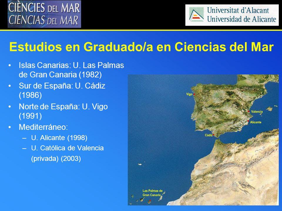 Estudios en Graduado/a en Ciencias del Mar Islas Canarias: U. Las Palmas de Gran Canaria (1982) Sur de España: U. Cádiz (1986) Norte de España: U. Vig
