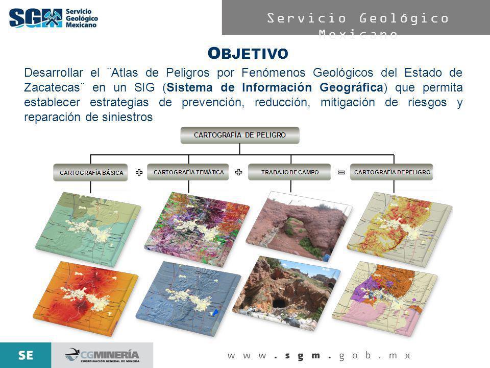 Servicio Geológico Mexicano O BJETIVO Desarrollar el ¨Atlas de Peligros por Fenómenos Geológicos del Estado de Zacatecas¨ en un SIG (Sistema de Inform