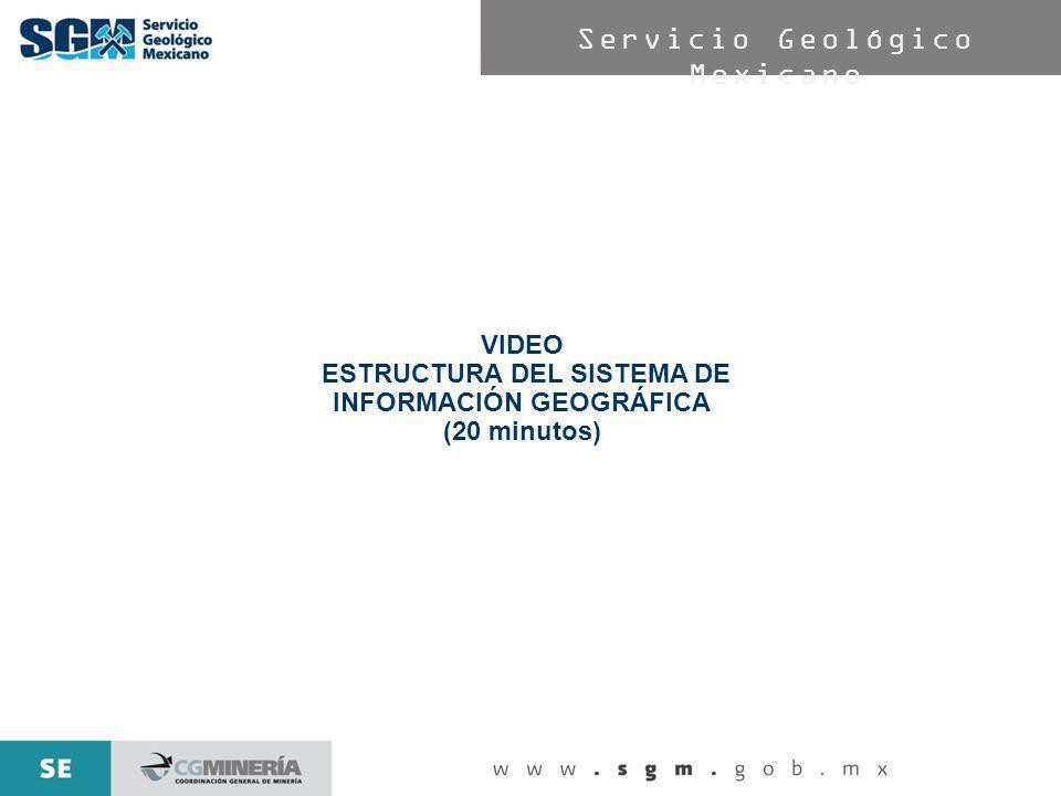 Servicio Geológico Mexicano VIDEO ESTRUCTURA DEL SISTEMA DE INFORMACIÓN GEOGRÁFICA (20 minutos)