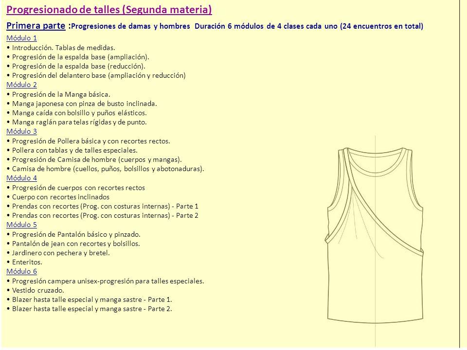 Progresionado de talles (Segunda materia) Primera parte : Progresiones de damas y hombres Duración 6 módulos de 4 clases cada uno (24 encuentros en total) Módulo 1 Introducción.