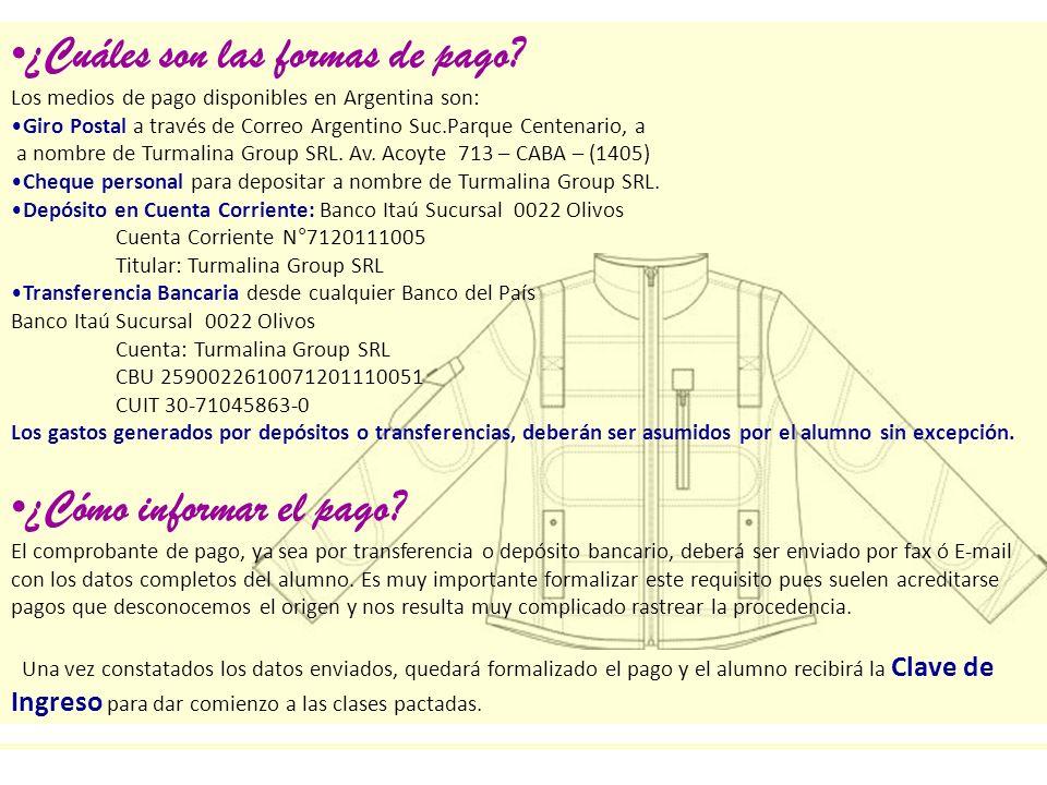 ¿Cuáles son las formas de pago? Los medios de pago disponibles en Argentina son: Giro Postal a través de Correo Argentino Suc.Parque Centenario, a a n